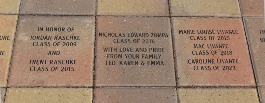 Engraved pavers on Trinity's campus