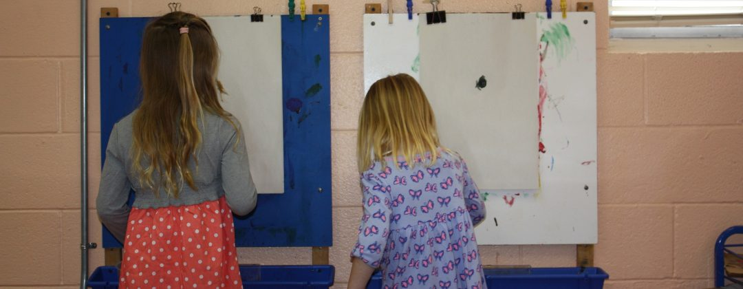 PK4 students painting